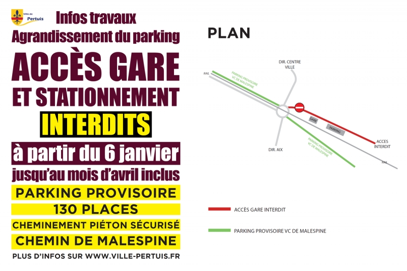Infos travaux parking de la gare